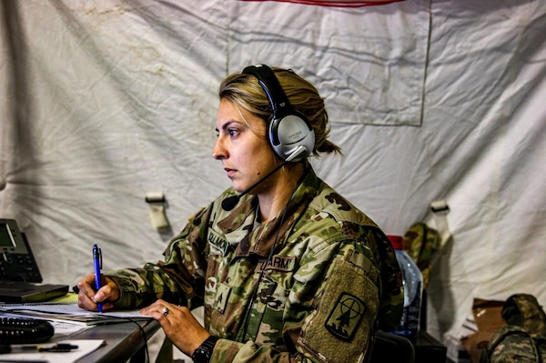 Sgt. Amanda Kollmorgan, a multiple launch rocket system crewmember with the Headquarters and Headquarters Company, 157th Maneuver Enhancement Brigade, during a Warfighter Exercise at Fort Campbell, Ky., Oct. 1-10, 2019. Kollmorgan and the rest of the 157th Maneuver Enhancement Brigade headquarters supported the two-week exercise by coordinating security, logistics, protection and artillery for the 101st Airborne Division.