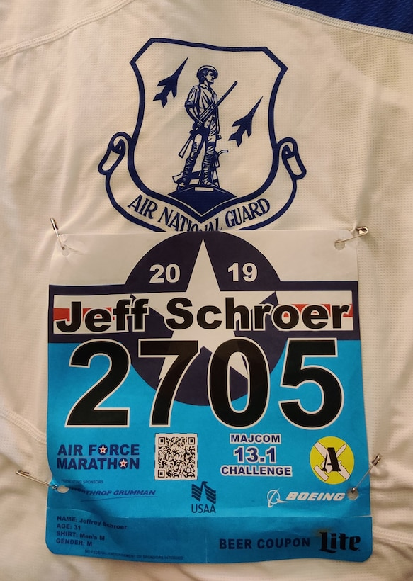 U.S. Air Force Capt. Capt. Jeffrey Schroer, a flight nurse with the 167th Aeromedical Evacuation Squadron competes in the U.S. Air Force half-marathon held Sept. 21, 2019, at Wright-Patterson Air Force Base, Ohio. Schroer, representing the Air National Guard marathon team, finished 37th overall with a time of 1:26:24. The Air National Guard team won the Air Force Major Command (MAJCOM) Challenge over 11 competing teams. (courtesy photo)