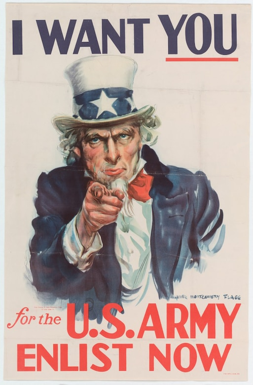 "An illustration of Uncle Sam pointing appears below the words ""I WANT YOU."""