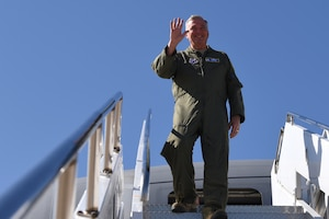 Maj. Gen. Ricky N. Rupp, Air Force District of Washington commander, departs the 13th KC-46A Pegasus delivered Oct. 11, 2019, at McConnell Air Force Base, Kan. The KC-46 has been serving alongside the KC-135 Stratotanker since the first arrival on January 25, 2019. (U.S. Air Force photo by Airman 1st Class Marc A. Garcia)