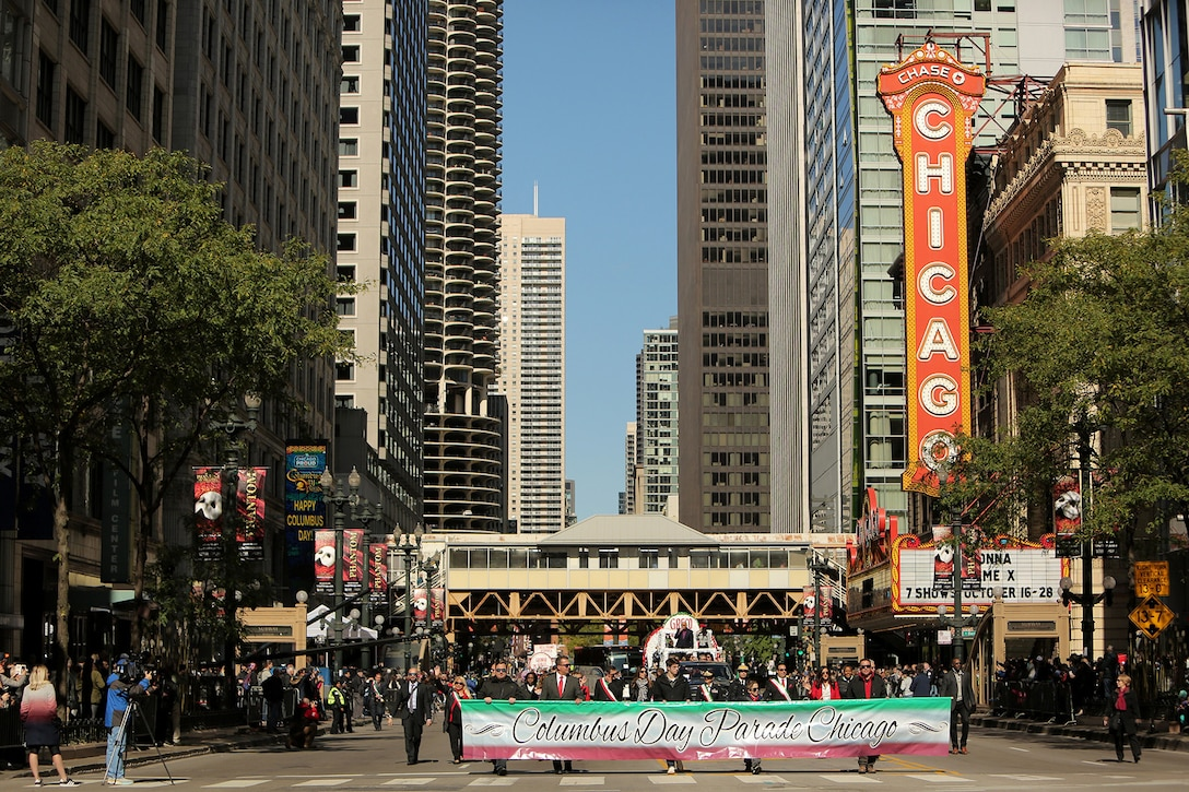Chicago's 67th Annual Columbus Day Parade honors Brig. Gen. Kris A. Belanger, Commanding General, 85th U.S. Army Support Command and parade honorary Grand Marshall, and Capt. Michael J. Ariola, Public Affairs Officer, 85th USARSC, both of Italian-American heritage, during Sunday's parade in downtown Chicago, October 14, 2019.