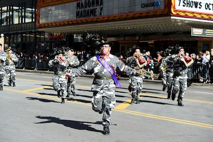 The Bersaglieri Marching Band, a military marching band from the island of Sicily, performed at the 67th Annual Columbus Day Parade in Chicago, October 14, 2019.