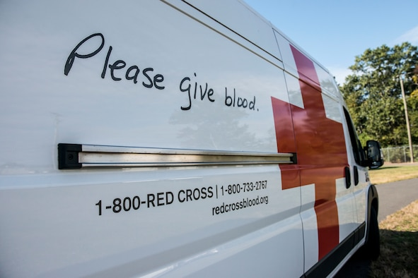 An American Red Cross van parked outside of a blood donation station, September 26, 2019 at Bradley Air National Guard Base, East Granby, Conn. Members of the 103rd Airlift Wing partnered with the American Red Cross to donate 44 pints of blood during a blood drive. (U.S. Air National Guard photo by Tech. Sgt. Tamara R. Dabney)