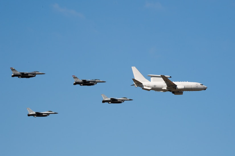 Jets fly in a formation.