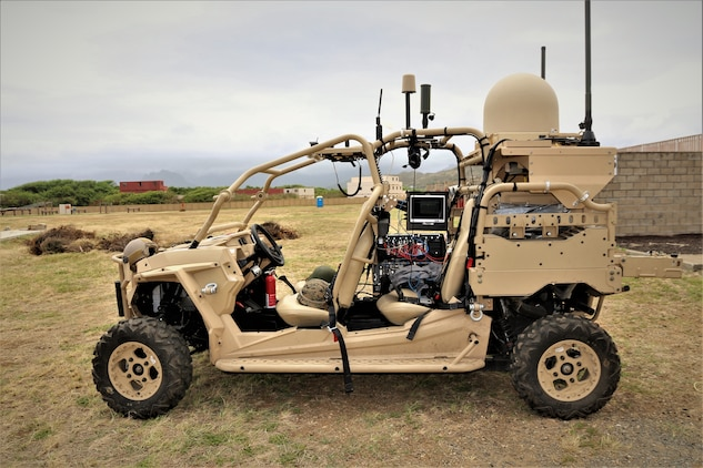 A Networking-On-the-Move Utility Task Vehicle prototype was one of the emerging capabilities used during the Island Marauder event Sept. 23, 2019, at Marine Corps Base Hawaii, Kaneohe Bay. The NOTM UTV prototype provides wireless satellite communication capabilities to Marines using a smaller, lighter footprint than the traditional Humvee NOTM vehicle. (U.S. Marine Corps photo by Ashley Calingo)