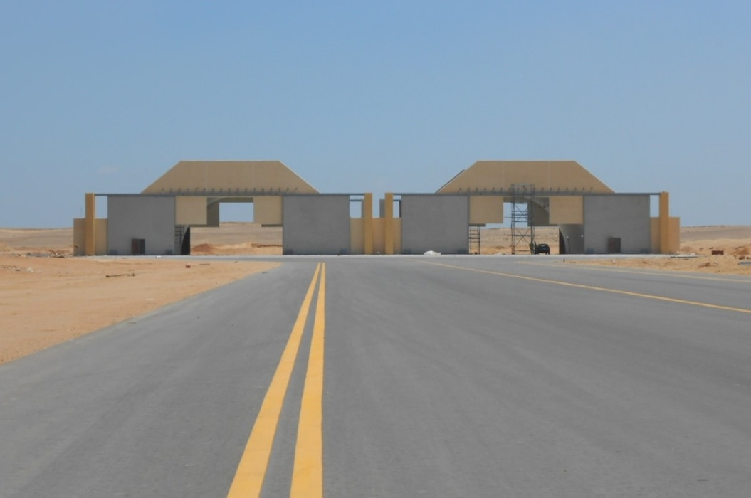 The completion of the Peace Vector VII Program, which included facilities such as these F-16 aircraft shelters, was celebrated at Cairo West Air Base in Egypt on Sept. 11, 2019.