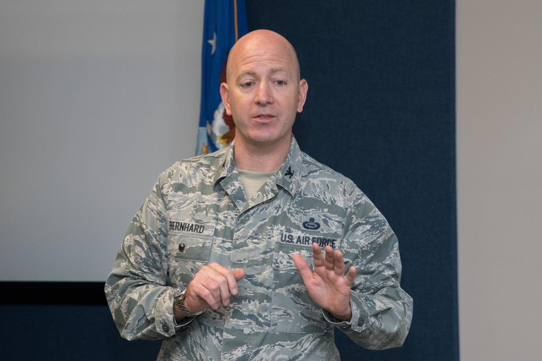 Maxwell AFB, Ala. - Colonel William Bernhard Instructs Cyber College Students at the Air University Academic Facility 22 May 2019. (U.S. Air Force photo by William Birchfield)