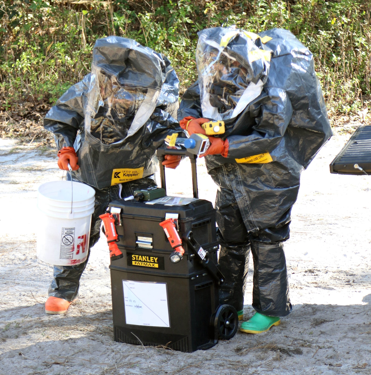 Two people in protective suits use a measuring tool.