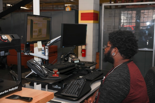 Shop 57 Apprentice Kristopher McKenzie recently came into the Technology and Innovation Lab to help with 3D modeling, a skill he only learned a few weeks ago when he joined the team's efforts.