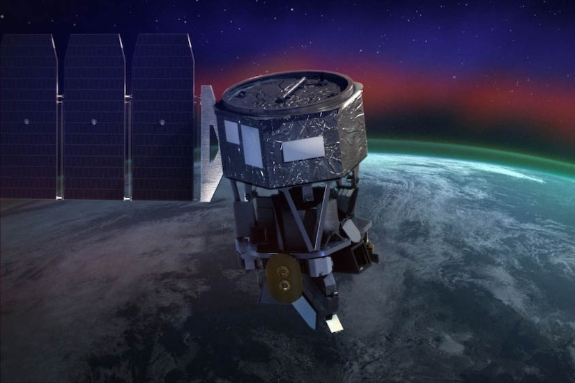 A graphic of a  Navy Research Lab satellite circling the Earth