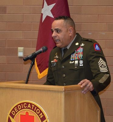 "Command Sgt. Maj. Alberto Delgado, U.S. Army North command sergeant major and the senior enlisted leader for Joint Base San Antonio-Fort Sam Houston and JBSA-Camp Bullis, speaks during the Brooke Army Medical Center Hispanic Heritage celebration Oct. 11, 2019. This year's theme is ""Honoring Hispanic Americans: Essential to the Blueprint of Our Nation."""