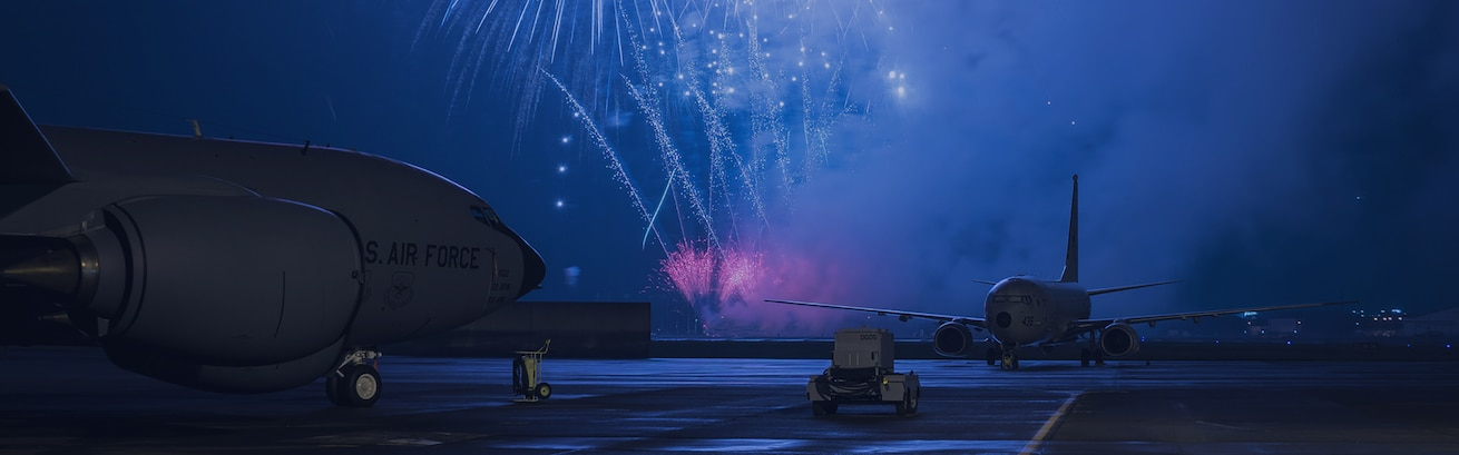 b52 with fireworks