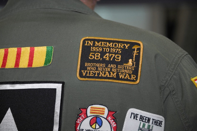 A memorial patch is worn by a Vietnam veteran during the Vietnam Security Police Association's 25th anniversary held at Joint Base Andrews, Md., Oct. 10, 2019. Over 58,000 armed forces members never returned from the Vietnam War. (U.S. Air Force photo by Airman 1st Class Spencer Slocum)