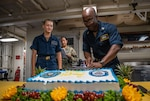This photo shows at a ceremony celebrating the Navy's 244th birthday,