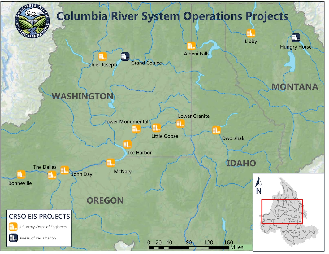 The 14 federal projects in the Columbia River System in the interior Columbia River Basin that make up the CRSO EIS.