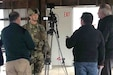 Brig. Gen. John Rhodes, the 29th Infantry Division deputy commanding general for operations, participates in a mock media interview during the Warfighter exercise Sept. 25-Oct. 11, 2019, at Fort Indiantown Gap, Pennsylvania.