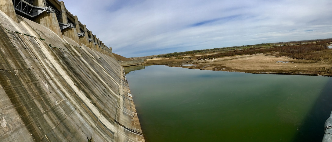 JOHN MARTIN RESERVOIR, Colo. – Photo of the stilling basin with water in it after the inspection and repairs were completed, April 9, 2019.