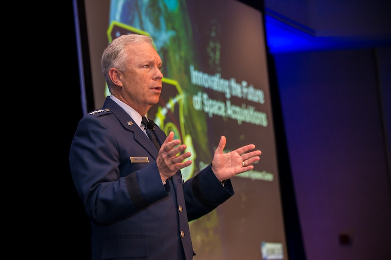 U.S. Air Force Lt. Gen. John F. Thompson, Space and Missile Systems Center commander and program executive officer for Space, speaks during Space Industry Days, Los Angeles, Calif., Oct. 16, 2019. Lt. Gen. Thompson emphasized the importance of speeding up the acquisition process and industrial partnership in developing, acquiring, and sustaining military space systems. Space Industry Days provide an opportunity for Air Force and industry professionals to discuss current and emerging opportunities.  (U.S. Air Force photo by Van De Ha)