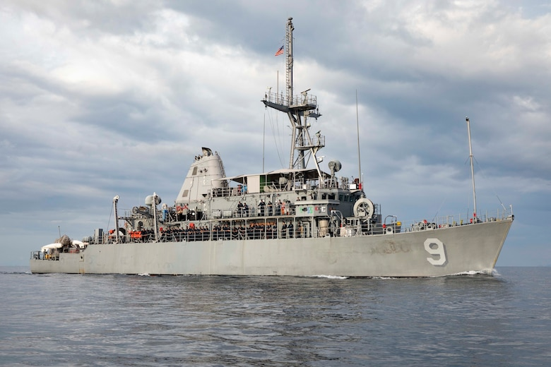 Official U.S. Navy file photo of the Avenger-class mine countermeasures ship USS Pioneer (MCM 9).