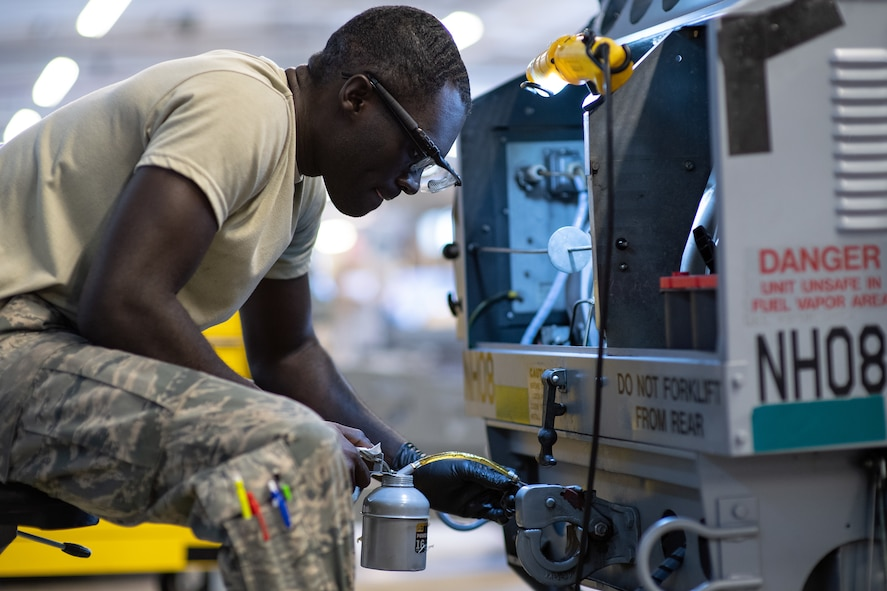 Airman 1st Class Michael Appiah, 388th Aerospace Ground Equipment Flight, performs maintenance on a mobile heater at Hill Air Force Base, Utah, Oct. 4, 2019. Unit Airmen maintain over 600 pieces of equipment that support the mission of crew chiefs, avionics, weapons and ammo troops. (U.S. Air Force photo by R. Nial Bradshaw)