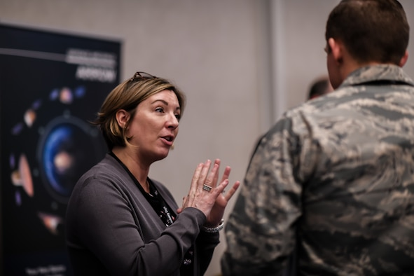 An industry vendor pitches products at the exhibitor displays during Space Industry Days, Los Angeles, Calif., Oct. 16, 2019. Space Industry Days provide an opportunity for Air Force and industry professionals to discuss current and emerging opportunities.  (U.S. Air Force photo by Van De Ha)
