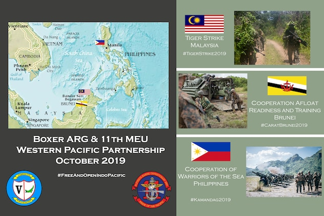 this layout and design to inform an online audience via social media about the role of the 11th Marine Expeditionary Unit in the 7th Fleet area of operations