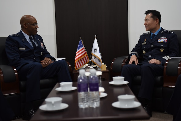 Gen. CQ. Brown, Jr., Pacific Air Forces commander, meets with Gen. Won In-Choul, Republic of Korea Air Force Chief of Staff, during a bilateral engagement at the Seoul International Aerospace and Defense Exhibition 2019 at the Seoul Airport, Republic of Korea, October 16, 2019. This year marked the 70th anniversary of the ROKAF and 70 years of unity between the U.S. and Republic of Korea air forces. Supporting airshows and other regional events allows the U.S. to demonstrate its commitment to the stability and security of the Indo-Pacific region. (U.S. Air Force photo by Senior Airman Denise M. Jenson)