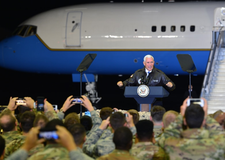 U.S. Vice President Mike Pence addresses Airmen at an all-call on Ramstein Air Base, Germany, Oct. 18, 2019. Pence spoke to Ramstein Airmen about their role in maintaining peace and security within the European theater. (U.S. Air Force photo by Staff Sgt. Jimmie D. Pike)