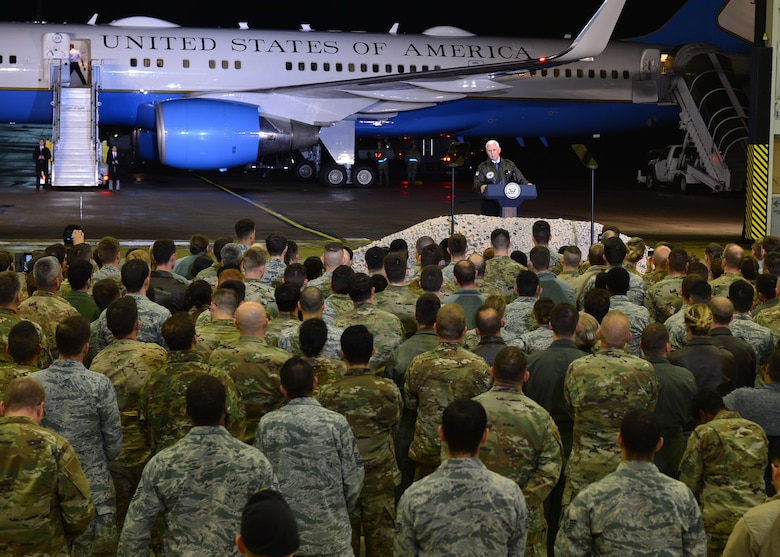 U.S. Vice President Mike Pence addresses Airmen at an all-call on Ramstein Air Base, Germany, Oct. 18, 2019. During the address, Pence acknowledged a successful negotiation with Turkey which resulted in a cease-fire in Syria. (U.S. Air Force photo by Staff Sgt. Jimmie D. Pike)