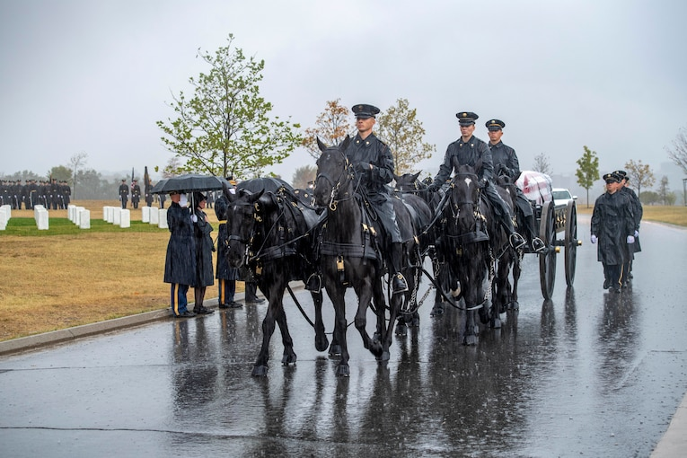 A group of soldiers and horses lead a funeral escort through a cemetery.
