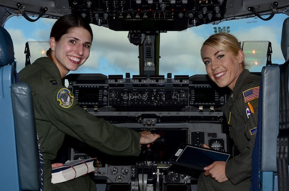 Capt. Maria Duffy and 1st Lt. Cecilia Photinos, both C-17 pilots with the 89th Airlift Squadron, participated in the 2019 The Sky's No Limit – Girls Fly Too! event held at the Abbotsford International Airport, Abbotsford, British Columbia, Canada Oct. 5-6, 2019.