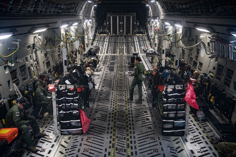 Airmen conducted an aeromedical evacuation on a C-17 Globemaster III