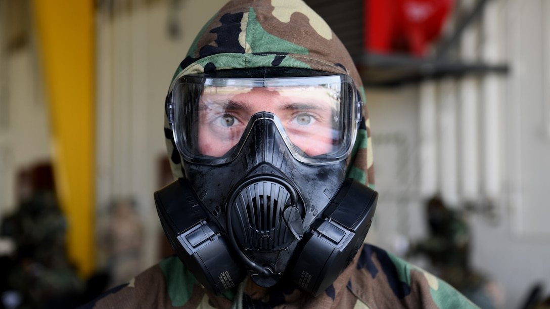 Senior Airman participates in chemical, biological, radiological, nuclear and explosive defense training