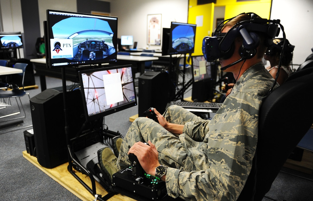 Cadet uses an immersive training device during a Pilot Training
