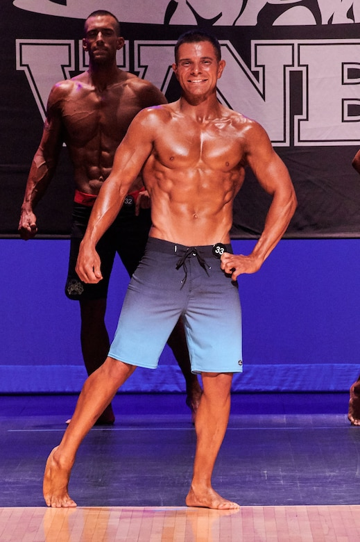 Major Richard Bottinelli, 90th Force Support Squadron operations officer, poses at the Orlando Bodybuilding Competition, in Orlando, Fla., Aug. 10, 2019. Bottinelli earned third overall in his competing categories and plans to compete again next year. (Courtesy photo)