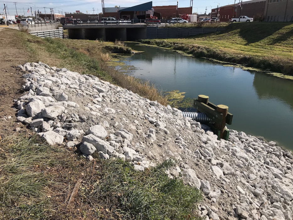 Completed repairs on the Broken Bow Levee Repair Contract.  Photo taken by the USACE Construction Team on 17 October 2019.