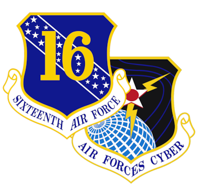 The Sixteenth Air Force (Air Forces Cyber), headquartered at Joint Base San Antonio-Lackland, Texas, is the first-of-its-kind Numbered Air Force. Also known as the Air Force's Information Warfare Numbered Air Force, the 16th integrates multisource intelligence, surveillance, and reconnaissance, cyber warfare, electronic warfare, and information operations capabilities across the conflict continuum to ensure that our Air Force is fast, lethal and fully integrated in both competition and in war. Sixteenth Air Force (Air Forces Cyber) provides mission integration of IW at operational and tactical levels… recognizing the role of information in creating dilemmas for adversaries in competition and, if necessary, future conflicts.