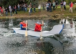 """Skipper"" Tom Morley and ""Gilligan"" Jonathan Watkins claimed top honors for the fourth time Oct. 11 during the installation's annual Navy Cardboard Regatta. Morley and Watkins are both from the Defense Logistics Agency Land and Maritime's Engineering and Technical Support Directorate."