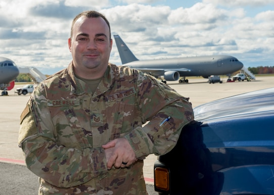 Tech. Sgt. Robert Crewell, an airfield manager assigned to the 64th Air Refueling Squadron, 157th Air Refueling Wing, Oct. 18, 2019, at Pease AIr National Guard Base, N.H. (U.S. Air National Guard photo by Tech. Sgt. Aaron Vezeau)