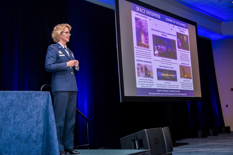 U.S. Air Force Brig. Gen. Donna D. Shipton, Space and Missile Systems Center (SMC) vice commander and program executive officer for Space Enterprise Corps, speaks during Space Industry Days, Los Angeles, Calif., Oct. 17, 2019. She highlighted the achievements of Space Enterprise Corps and the importance of speeding up the acquisition process in developing, acquiring, and sustaining military space systems. Space Industry Days provide an opportunity for industry to work with U.S. Air Force space acquisition professionals to deliver space capabilities faster and smarter.  (U.S. Air Force photo by Van De Ha)