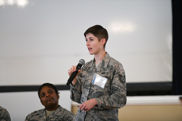 U.S. Air Force Tech. Sgt. Brittany Baze, Defense Language Institute Foreign Language Center curriculum advisor, speaks during a panel interview as part of the Foreign Language Design Sprint event held at the Presidio of Monterey, Calif., Oct. 15 through 17. Over the course of the three day event, the participants, government stakeholders and experts from academia, discuss potential research topics and develop plans for updating the Air Force language training curriculum. (Official DOD photo by Leo Carrillo)