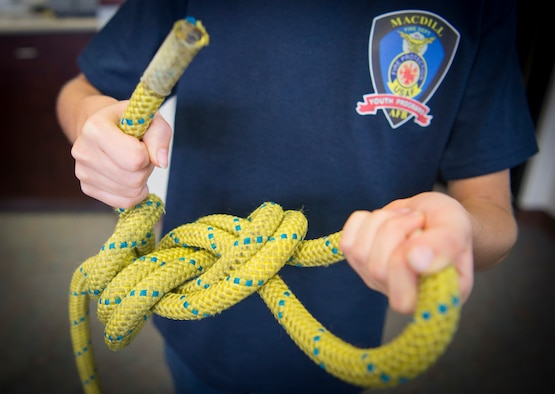 A Youth Center student ties different type of knots at MacDill Air Force Base, Fla., Oct. 15, 2019.
