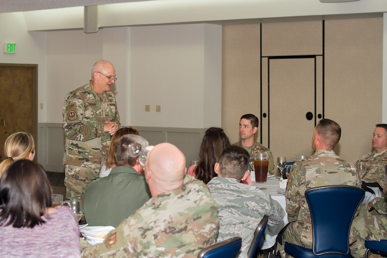 Gen. Arnold Bunch, Commander, Air Force Materiel Command, talks to various members of the 412th Test Wing during his visit to Edwards Air Force Base, California, Oct. 18. (U.S. Air Force photo by Richard Gonzales)