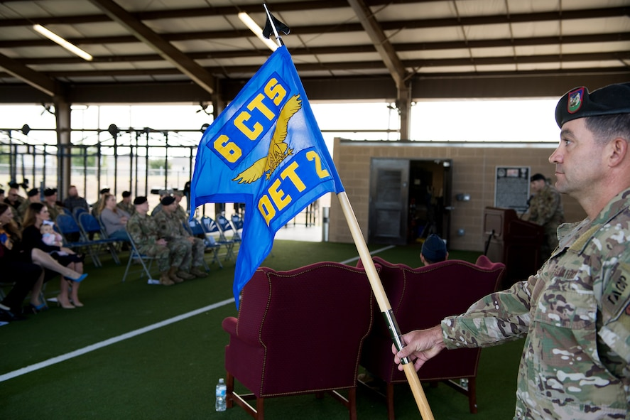 U.S. Air Force Capt. Daniel Hill, incoming commander, addresses the audience during the activation and assumption of command ceremony of Detachment 2, Combat Training Squadron, Sept. 17, 2019, at Joint Base San Antonio-Medina Annex, Texas.