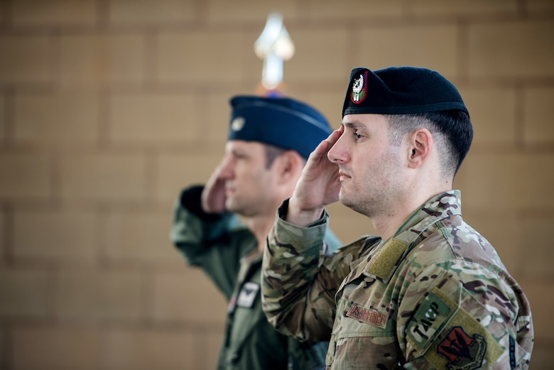 U.S. Air Force Lt. Col. James Kappes (left), 6th Combat Training Squadron operations officer, Camp Bullis, and Capt. Daniel Hill (right), incoming commander, renders a salute during the activation and assumption of command ceremony of Detachment 2, Combat Training Squadron, Sept. 17, 2019, at Joint Base San Antonio-Medina Annex, Texas.