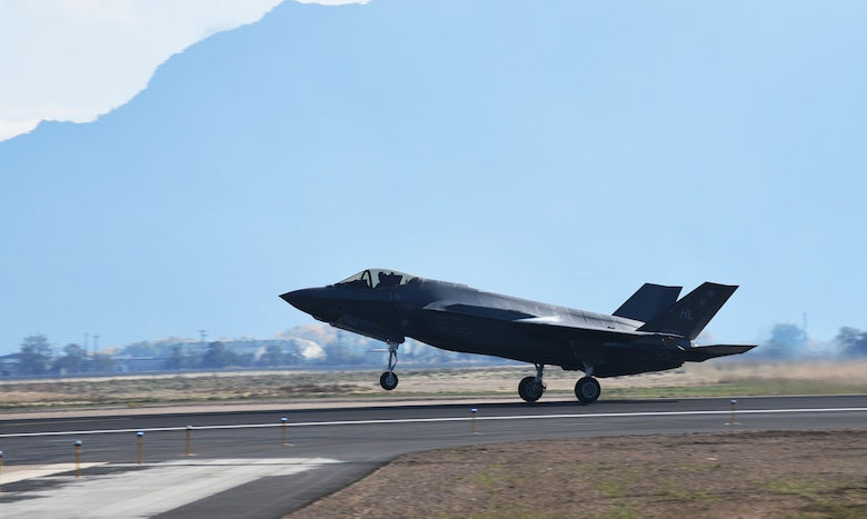 An F-35A Lightning II takes off from Hill Air Force Base, Utah. Make-A-Wish children visited the 388th Fighter Wing where they spent the day learning what it's like to be a pilot. They received flight suits, name tapes, patches, and wings. (U.S. Air Force photo by Micah Garbarino)