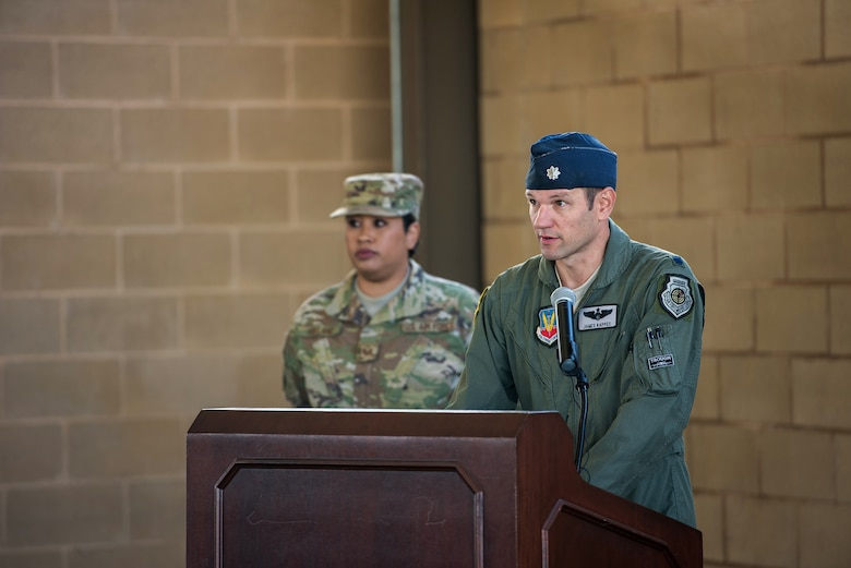 U.S. Air Force Lt. Col. James Kappes, 6th Combat Training Squadron operations officer, Camp Bullis, presents opening remarks during the activation and assumption of command ceremony of Detachment 2, Combat Training Squadron, Sept. 17, 2019, at Joint Base San Antonio-Medina Annex, Texas.