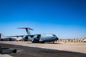 A U.S. Air Force C-17 Globemaster III taxis into position after landing in Jordan, Oct. 14, 2019. The port provides aerial logistics for the American Embassy to Jordan through the Military Assistance Program, handling cargo and passenger movement in support of State Department efforts.
