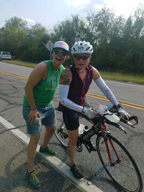 Senior Master Sgt. Bobbi Kennedy, 142nd Medical Group superintendent, (right), poses with friend Rebekah Lemarr during the May 19, 2019, Ironman Triathlon in Chattanooga, Tennessee.