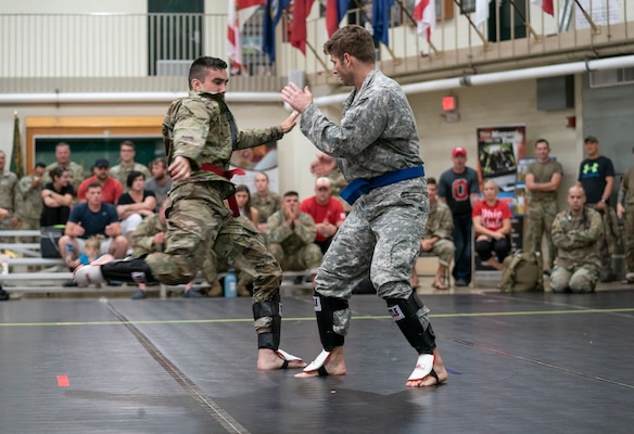 Participants compete in the 2019 Ohio Army National Guard Combatives Tournament Sept. 14, 2019, at the Maj. Gen. Robert S. Beightler Armory in Columbus, Ohio. More than 65 Ohio Guard members competed in the double-elimination tournament, in its sixth year.